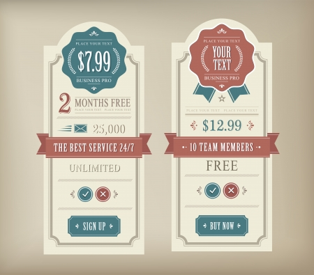 Price table vintage web and print element Stock Vector - 21661127