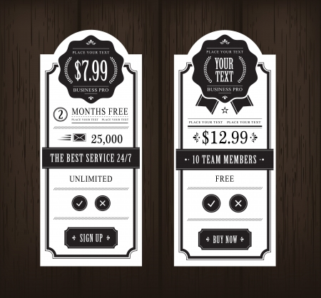 Price table vintage web and print design on wooden background Stock Vector - 21661136