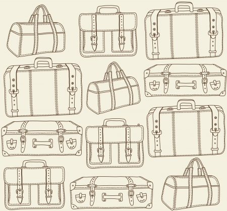 trolley case: Hand drawn Travel bags seamless pattern Illustration
