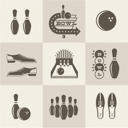 bowling alley: Vintage bowling icons