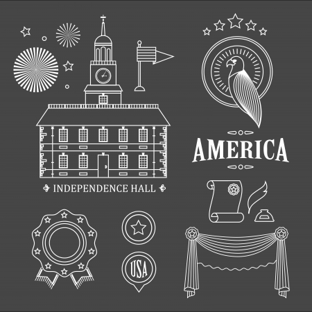 USA icons for independence day ( good for infographic and charts) Vector