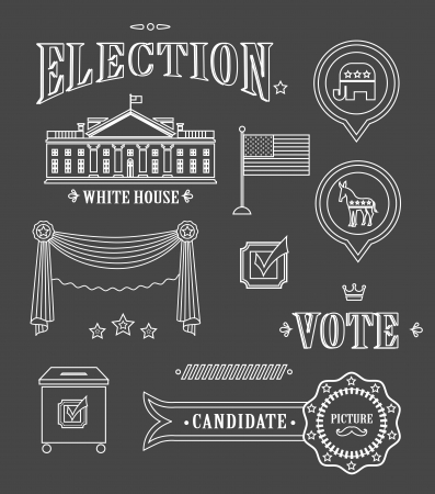 candidate: USA election vintage icon set for charts and designs