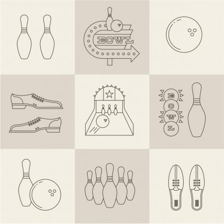 bowling pin: Vector vintage bowling icons