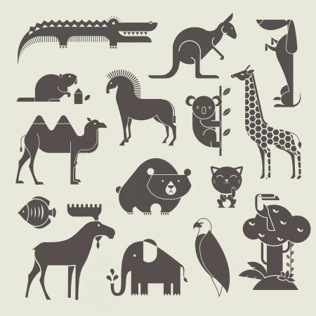 dieren: set vector dieren Stock Illustratie