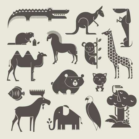 australia jungle: vector animals set
