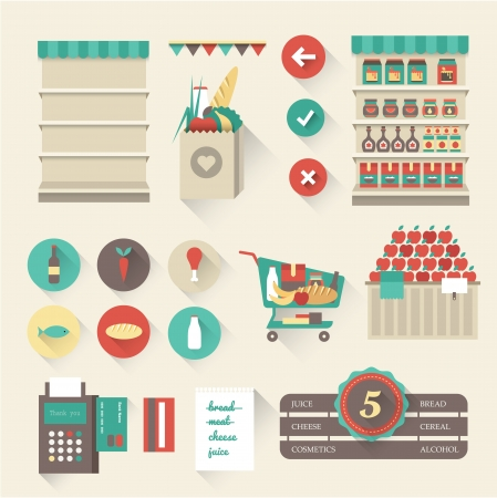 grocery cart: Vector supermarket icons