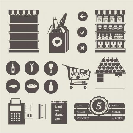 bolsa de pan: Supermercado Vector icon set