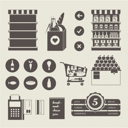 Vector Supermarket icon set Vector
