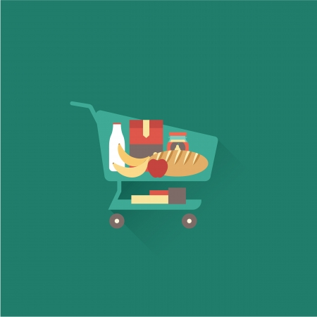 grocery cart: Vector shopping cart