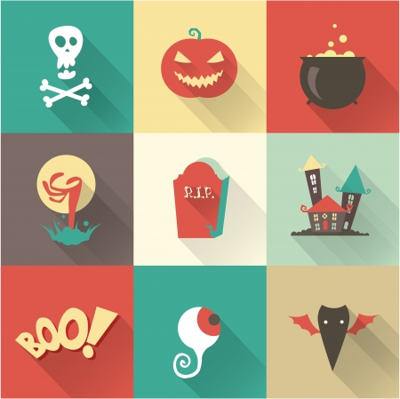 Vector halloween icons 向量圖像