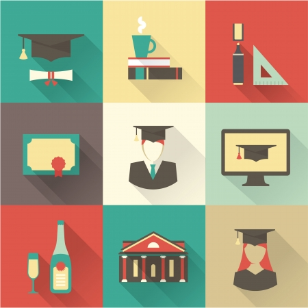 computer education: Vector graduation set