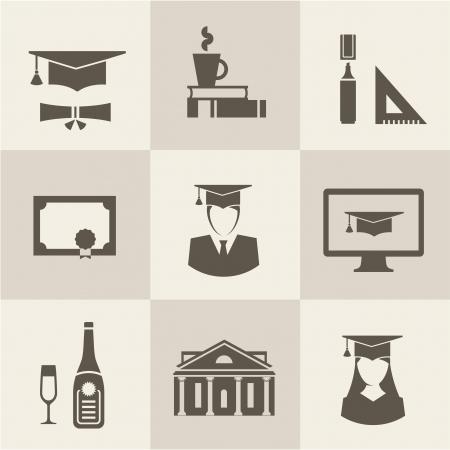 college building: Vector graduation set