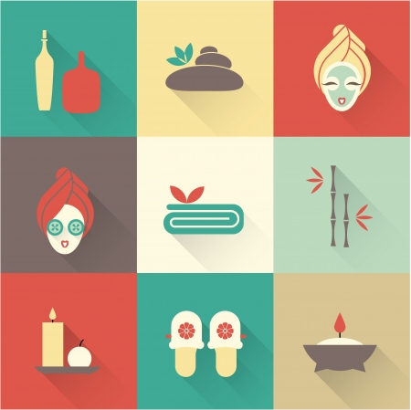 a Vector illustration of various spa icons Illustration