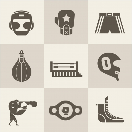 boxing sport: Vector Boxing icons
