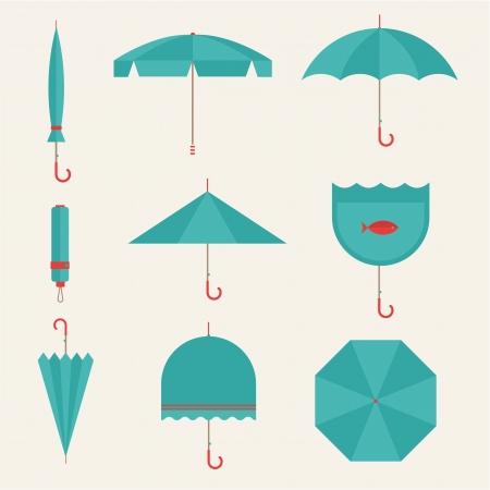 beach rain: Vector umbrellas