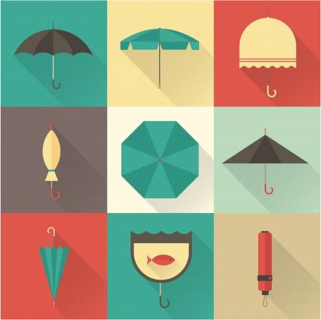 lluvia paraguas: Vector vendimia paraguas