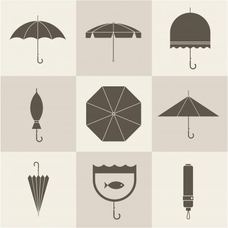 Vector vintage umbrellas Иллюстрация