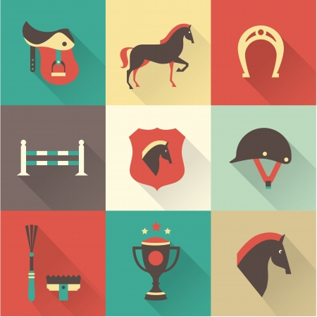 horse saddle: Vectir Horse icone set Vettoriali