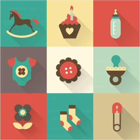 Cute baby icons for postcards, charts, invitations or scrapbooks Vector