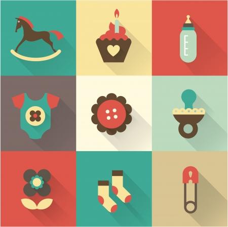 babero: Iconos de lindo beb? para postales, cartas, invitaciones o bit?coras