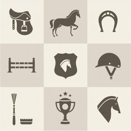 cabeza de caballo: Vectir iconos Conjunto del caballo