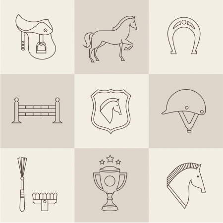 horse saddle: Vectir Horse icons set