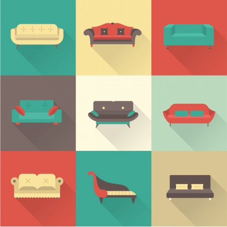 sofa: Vector sofa icons set
