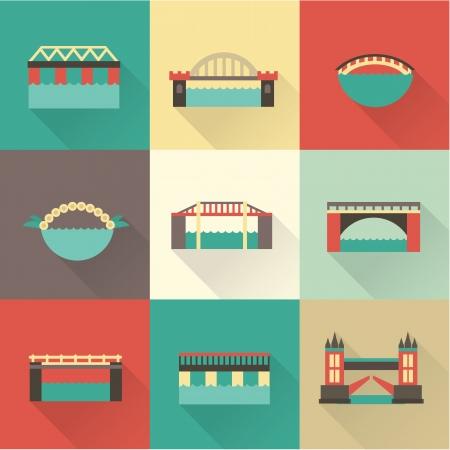 draw bridge: Vector bridge icon set Illustration