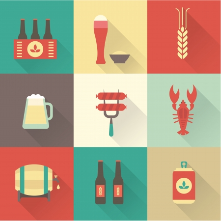 6 pack beer: Beer icons set vector