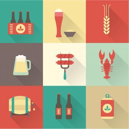 tarro cerveza: Iconos de la cerveza conjunto de vectores
