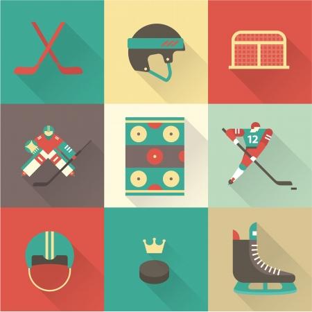 patinaje sobre hielo: Iconos de deporte de hockey vector