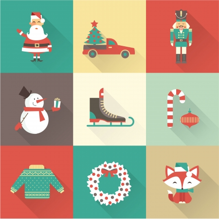 warm clothes: christmas icons vector