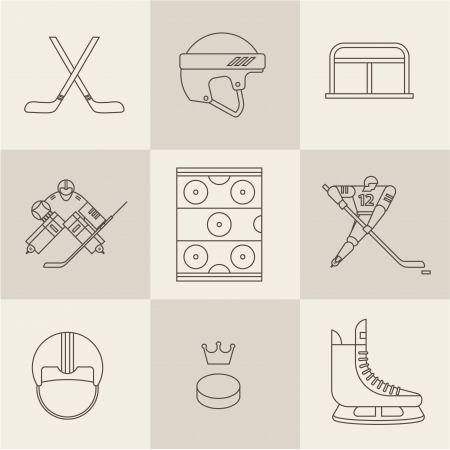 hockey sport icons vector Vector