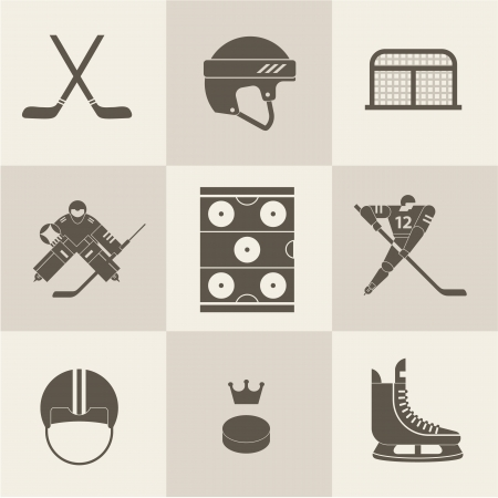 hockey sport icons vector Illustration