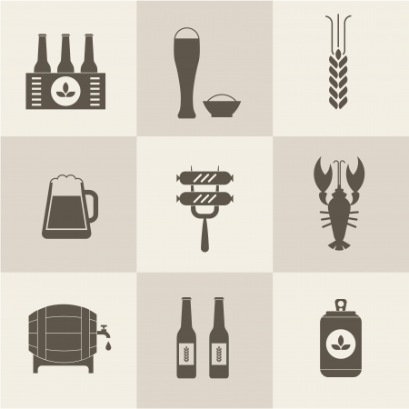 6 pack: Beer icons set vector