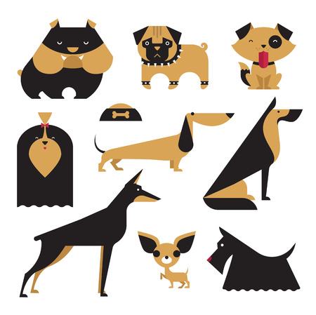 Cute vector illustration of various dog breeds