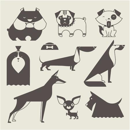 Cute vector illustration of various dog breeds Vector
