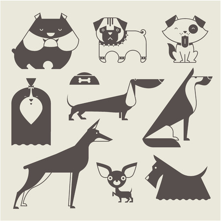 good shepherd: Cute vector illustration of various dog breeds