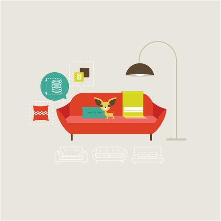Vector sofa icons set Vector