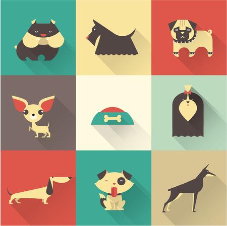 Illustration mignonne de vecteur de chiens de races différentes