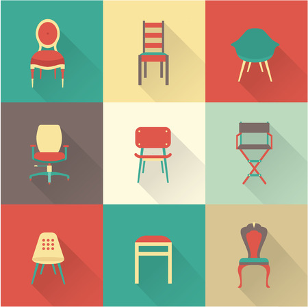 vintage chair: Vector flat icon set of chairs furniture