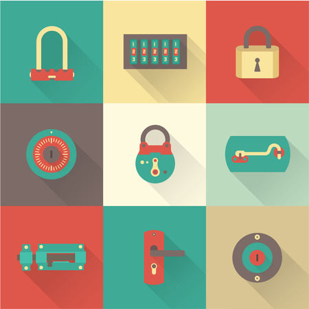 lock symbol: Vector set of various flat icons of Locks Illustration