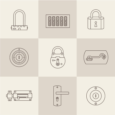 Vector set of various flat icons of Locks Vector