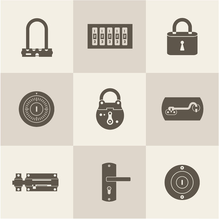 set of various flat icons of Locks Vector