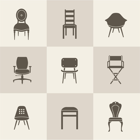vintage chair: flat icon set of chairs furniture