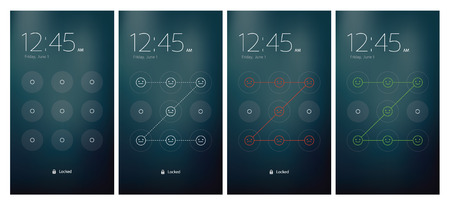 Mobile UI unlocking vector set flat design Vector