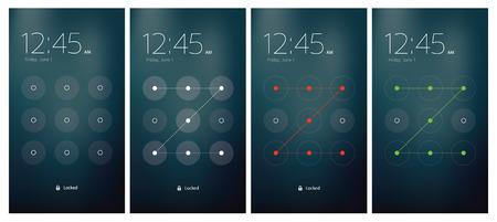 Mobile UI unlocking vector set flat design Vector