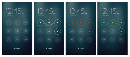 ui design: Mobile UI unlocking vector set flat design