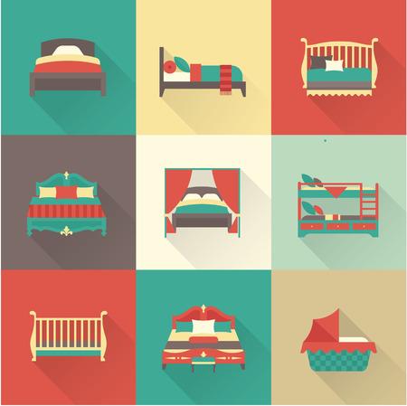 ベクトル フラット ベッド アイコンはシンプルなスタイルを設定  イラスト・ベクター素材