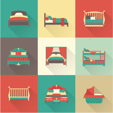 breakfast in bed: Vector flat bed icon set simple style